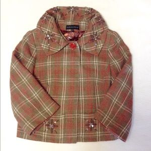 Bernardo Sz 4 Brown Pink Plaid Short Jacket